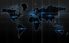 Обои надписи, синий, материки, карта мира, карта, полосы, свечение