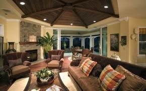 Обои комната, диван, интерьер, гостинная, стиль, подушки, кресла, style