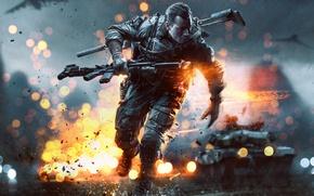 Картинка огни, самолет, оружие, дождь, часы, солдат, танк, перчатки, USA, США, экипировка, глушитель, бронежилет, Electronic Arts, …