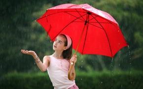 Картинка красный, дождь, зонт, девочка
