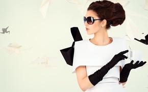 Картинка девушка, шатенка, оригами, тёмные очки