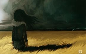 Картинка гроза, поле, девочка
