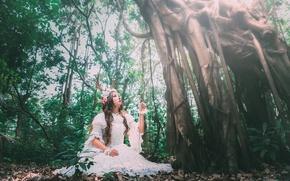 Картинка лес, девушка, дерево, платье, рога, азиатка