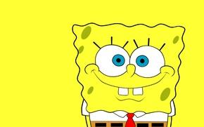Обои SpongeBob SquarePants, Губка Боб Квадратные Штаны, улыбка, желтый