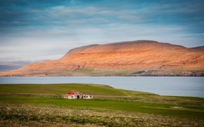 Картинка облака, горы, дом, залив, Исландия
