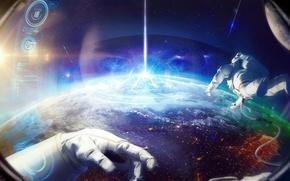 Картинка орбита, космонавт, скафандр, астронавт, планета, космос