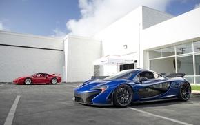 Обои Ferrari F40, McLaren, Red, Supercars, Суперкары, Blue