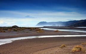 Обои берег, песок, ручей