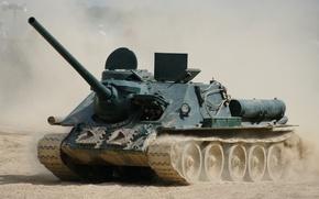 Картинка пыль, истребитель, войны, установка, советская, СУ-100, (САУ), самоходно-артиллерийская, периода, танков, мировой, Второй
