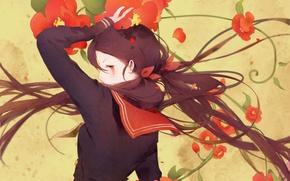 Картинка девушка, арт, Аниме, Anime, школьная форма, длинные волосы, красные цветы