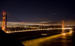 Картинка море, вода, ночь, огни, страны, города, океан, вид, дома, америка, мосты, небоскрёбы