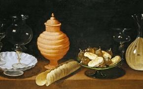 Обои картина, Хуан ван дер Амен и Леон, Натюрморт с Выпечкой и Стеклянной Посудой