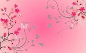 Обои бабочки, цветы, фон, flowers, background, butterflies