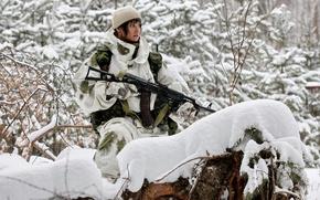 Картинка зима, лес, девушка, снег, камуфляж, Автомат, Ак-74, ак-74м