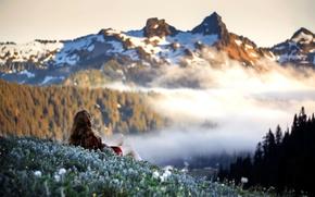 Картинка девушка, горы, настроение, утро