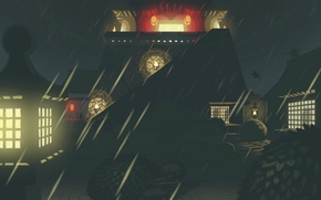 Картинка ночь, замок, дождь, крыши, фонари, свет в окнах, Mini Ninjas, лазутчики