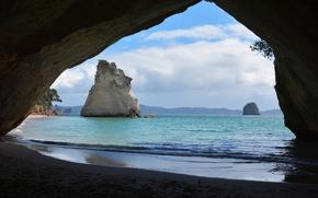 Картинка море, камни, скалы, побережье, Новая Зеландия