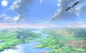 Обои полет, река, Рисунок