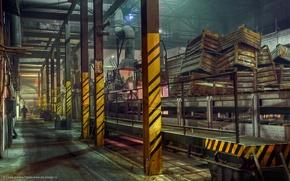Обои склад, завод, ящики