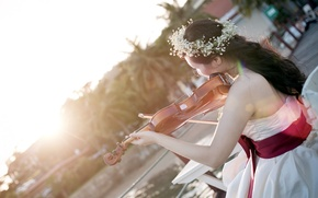 Картинка девушка, свет, музыка, скрипка