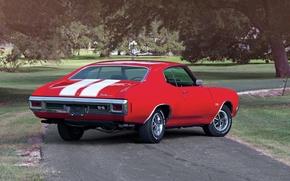 Картинка дорога, деревья, красный, купе, Chevrolet, Шевроле, вид сзади, Coupe, 1970, 454, Chevelle, Muscle car, Hardtop, …