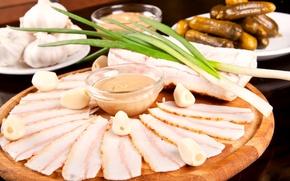Обои фото, еда, лук, огурцы, чеснок, сало, мясные продукты