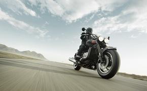 Картинка движение, трасса, байкер, roadster, Triumph Rocket III