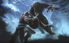 Обои монстр, воин, битва, The Elder Scrolls V: Skyrim
