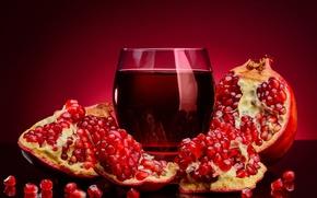Картинка стакан, отражение, сок, зёрна, гранат