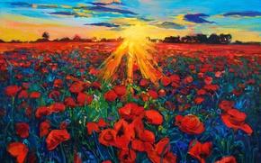 Картинка небо, солнце, пейзаж, цветы, природа, живопись