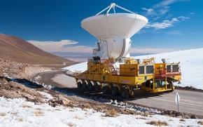 Картинка горы, пустыня, высота, север, самый, Чили, установка, плато, силовая, радиотелескоп, моря, тягач, Атакама, Чахнантор, крупный, …