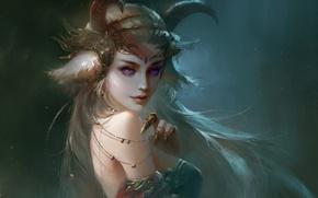 Картинка girl, fantasy, horns, art, purple eyes, painting, blonde, artwork, Demon