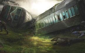 Обои вагоны, крушение, ящеры, поезд, арт, мужчина, человек