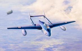 Картинка war, art, airplane, painting, jet, De Havilland Vampire