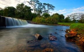 Картинка лес, небо, деревья, парк, река, камни, водопад, поток