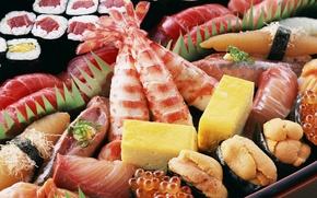 Обои блюда, сыр, икра, креветки, японская еда, морепродукты, роллы