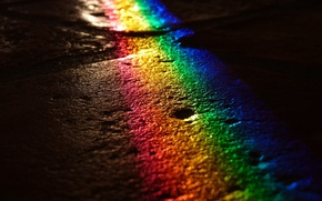 Картинка дорога, цвета, свет, ночь, радуга, брусчатка