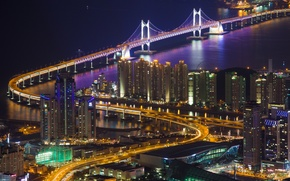 Картинка подсветка, мост, освещение, дома, Кванан, Республика Корея, панорама, Пусан, пролив, город, огни, вид, ночь, здания