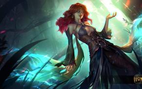Картинка грудь, девушка, платье, арт, рыжая, hon, Heroes of Newerth, defiler, Green Lady