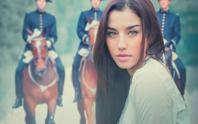 Картинка взгляд, девушка, фон, портрет, кавалерия