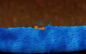 Обои пловец, вода, Человечек
