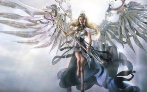 Картинка металл, ангел, Крылья, посох