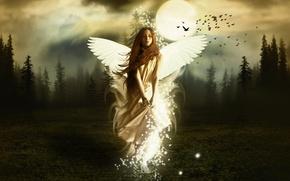 Картинка wallpaper, red hair, angel, white wings