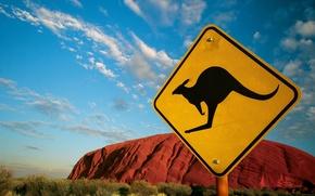 Обои знак, 152, Австралия, кенгуру