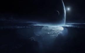 Картинка небо, облака, ночь, планета, высота, спутник, атмосфера, арт