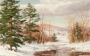 Картинка зима, лес, пейзаж, река, Carl Wuermer