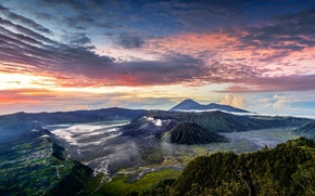 Картинка облака, горы, Индонезия, Ява, панорамма, Tengger, вулканический комплекс-кальдеры Тенгер, вулкан Бромо