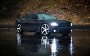Картинка машина, авто, Dodge, auto, Black, Charger, Matte, Wheels, Concavo