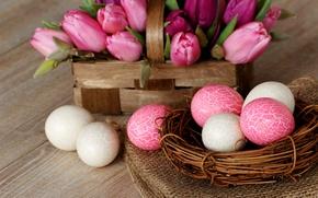 Картинка цветы, праздник, тюльпаны, белые, яйца, Easter, Пасха, пасхальные, гнездо, розовые, корзина, весна