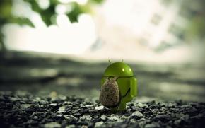 Картинка макро, камни, земля, Android, рюкзак, 3D render